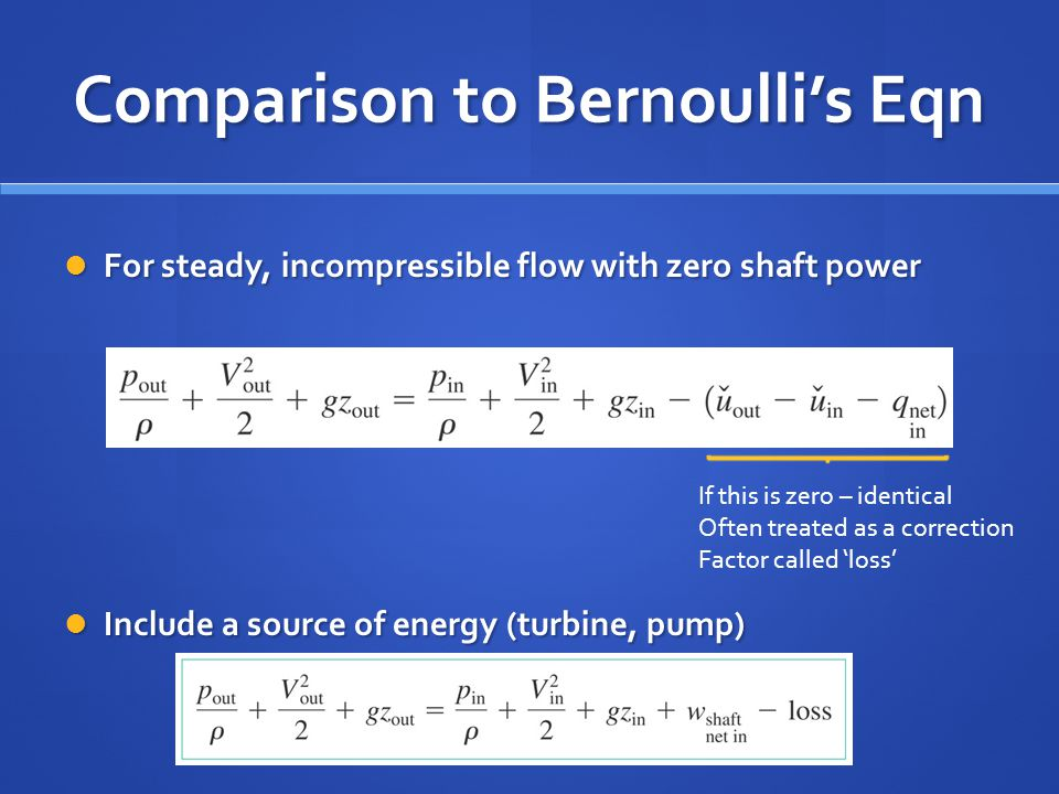 Comparison to Bernoulli's Eqn