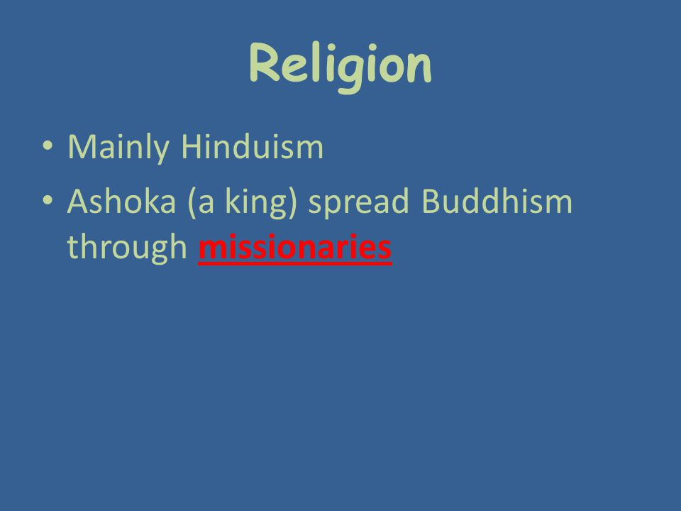 Religion Mainly Hinduism
