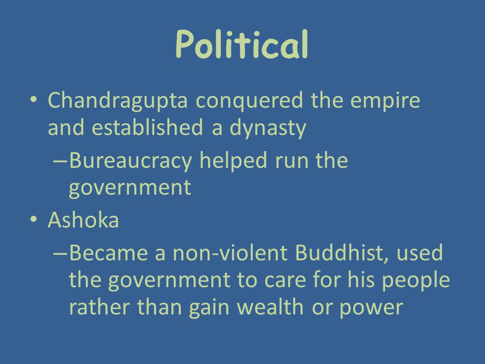 Political Chandragupta conquered the empire and established a dynasty