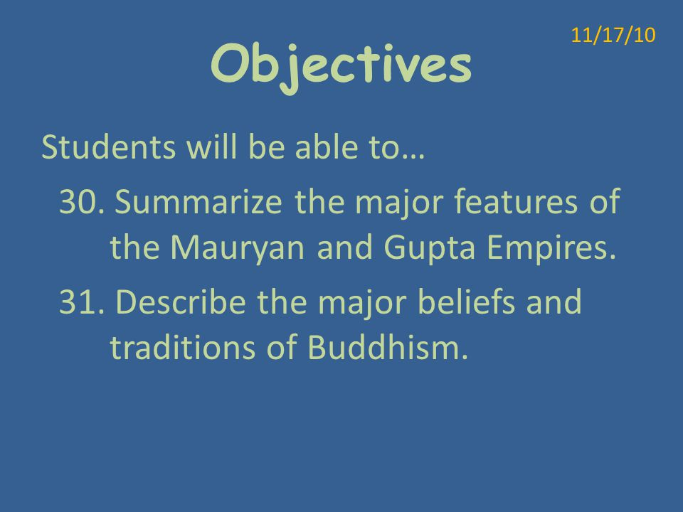 Objectives 11/17/10.