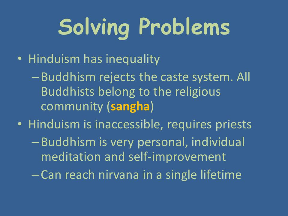 Solving Problems Hinduism has inequality