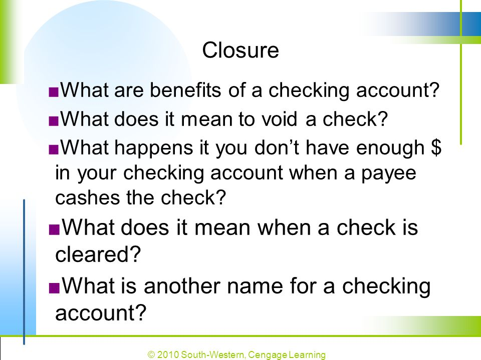What does it mean when a check is cleared