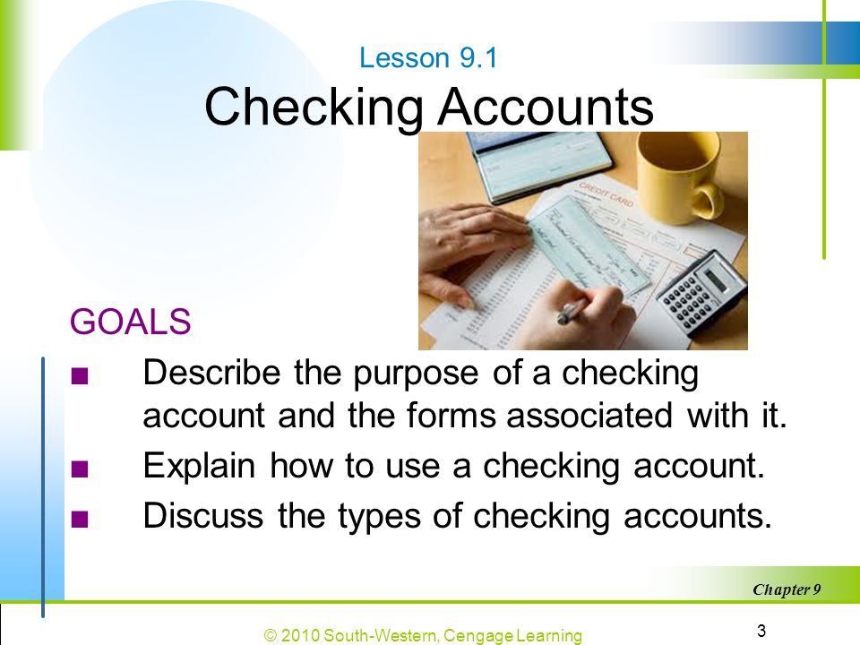Lesson 9.1 Checking Accounts