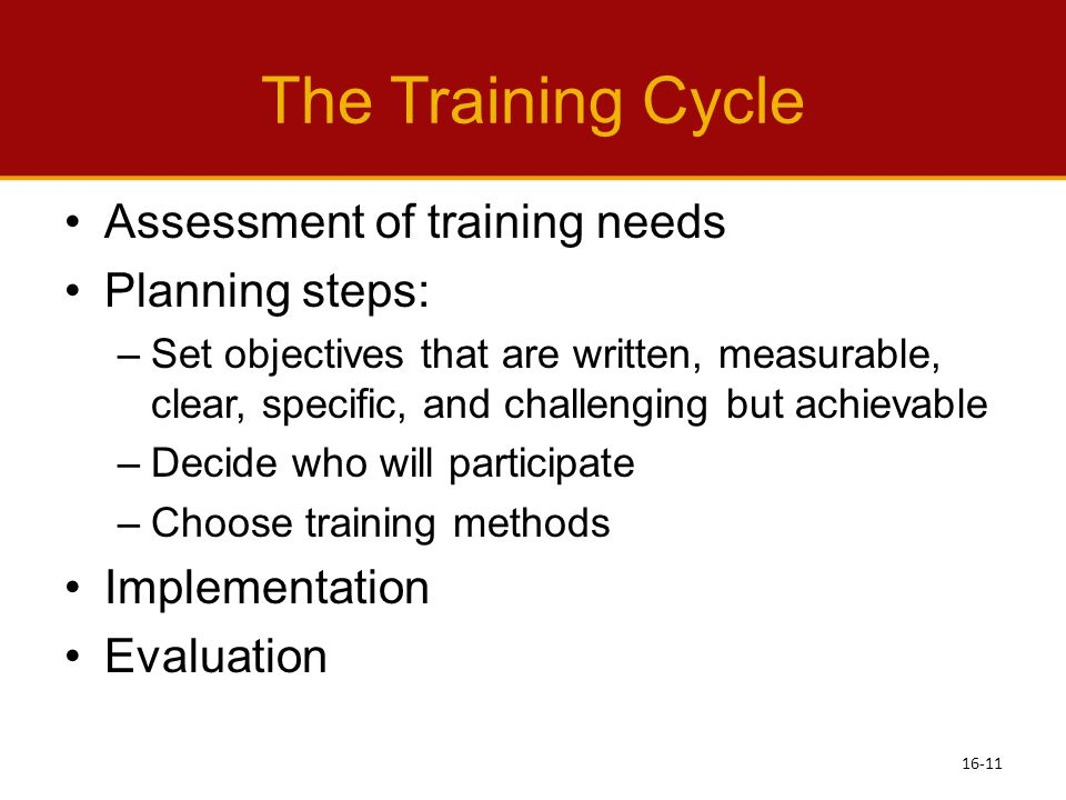 The Training Cycle Assessment of training needs Planning steps: