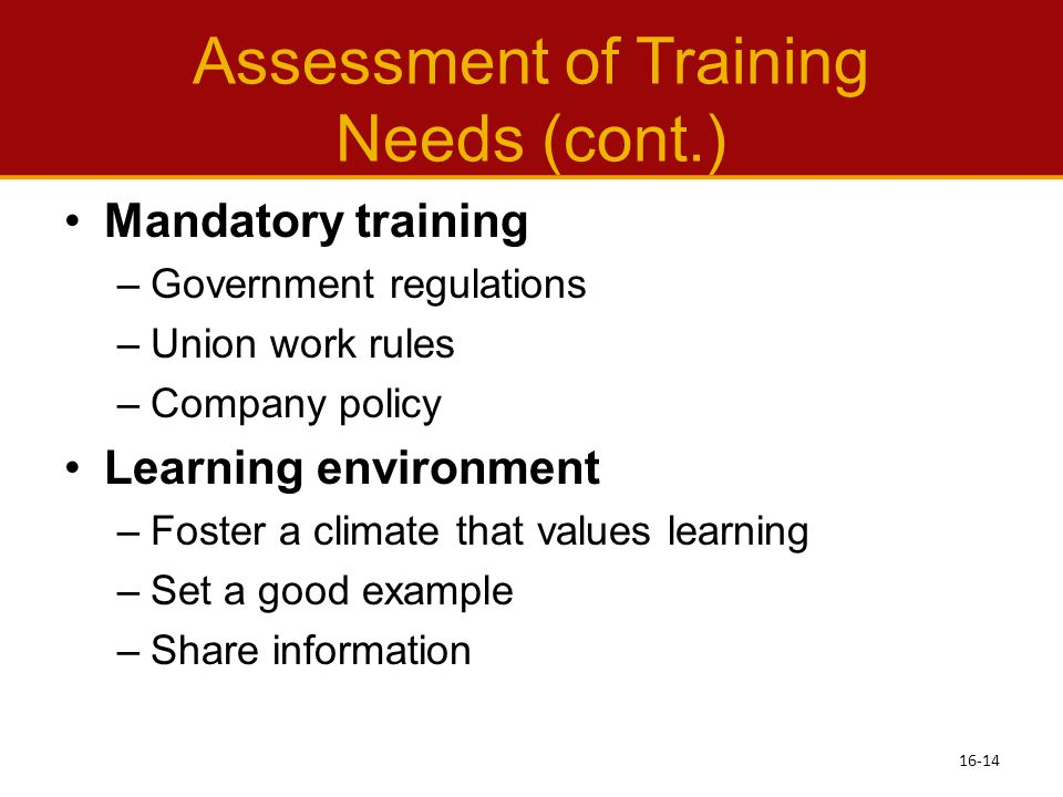 Assessment of Training Needs (cont.)