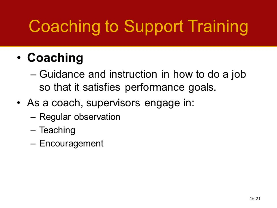 Coaching to Support Training