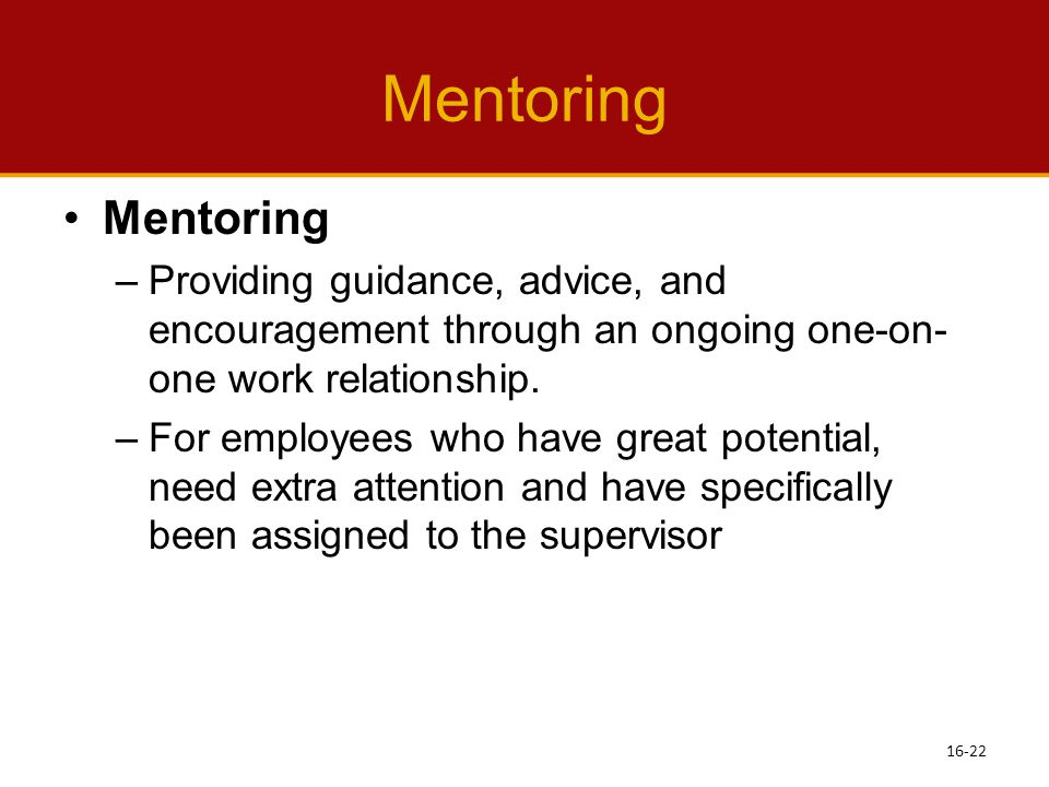 Mentoring Mentoring. Providing guidance, advice, and encouragement through an ongoing one-on-one work relationship.