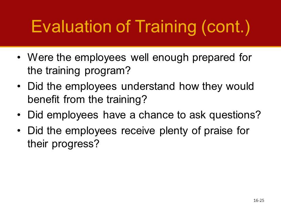 Evaluation of Training (cont.)