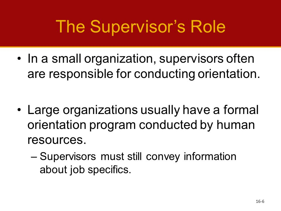 The Supervisor's Role In a small organization, supervisors often are responsible for conducting orientation.