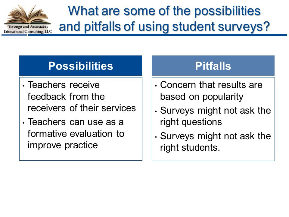 What are some of the possibilities and pitfalls of using student surveys