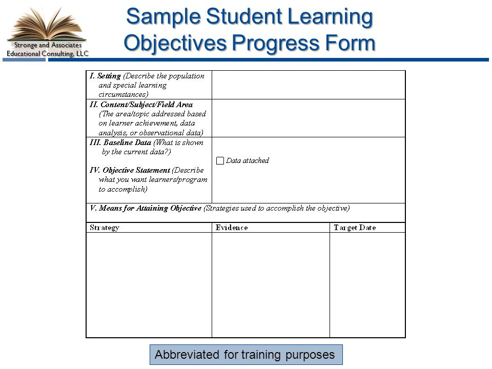 Sample Student Learning Objectives Progress Form