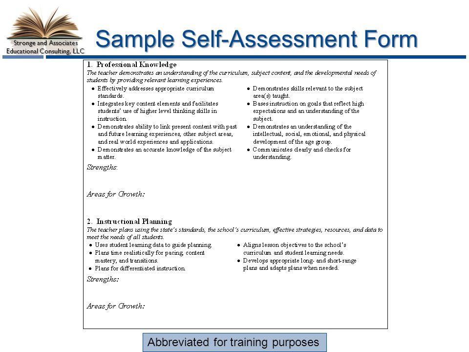 Sample Self Assessment Form