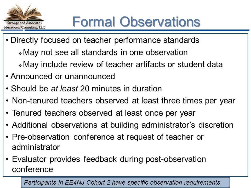 Formal Observations Directly focused on teacher performance standards
