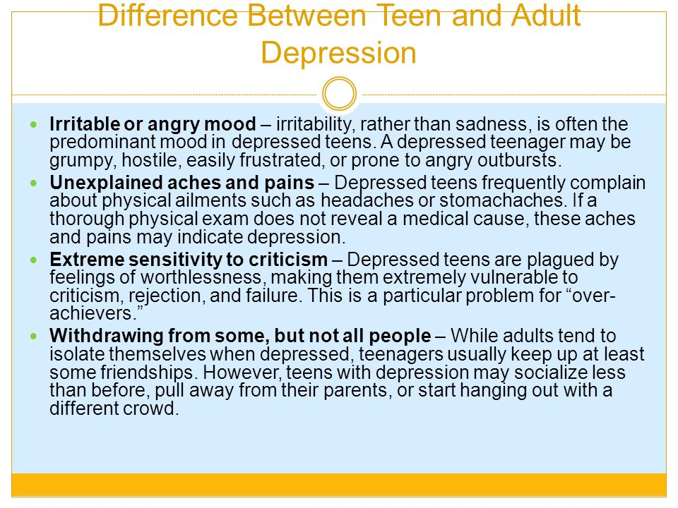 Difference Between Teen and Adult Depression