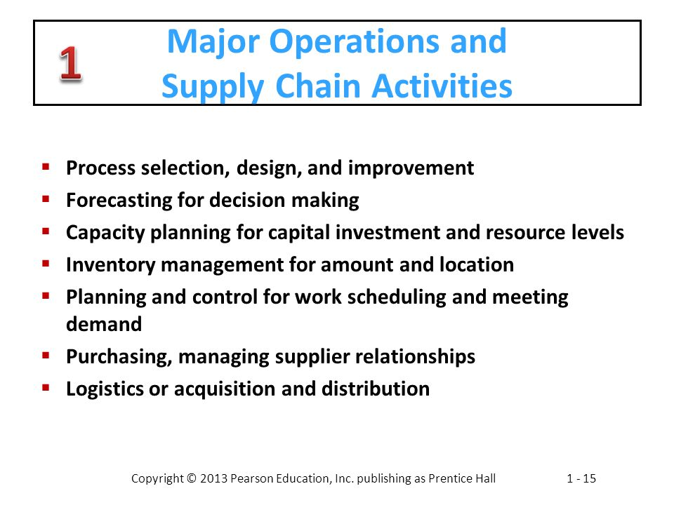 Major Operations and Supply Chain Activities