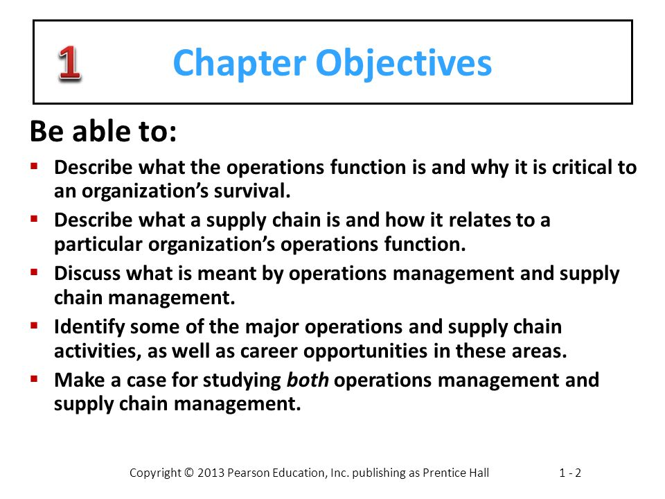 1 Chapter Objectives Be able to: