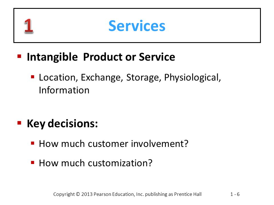Services Intangible Product or Service Key decisions: