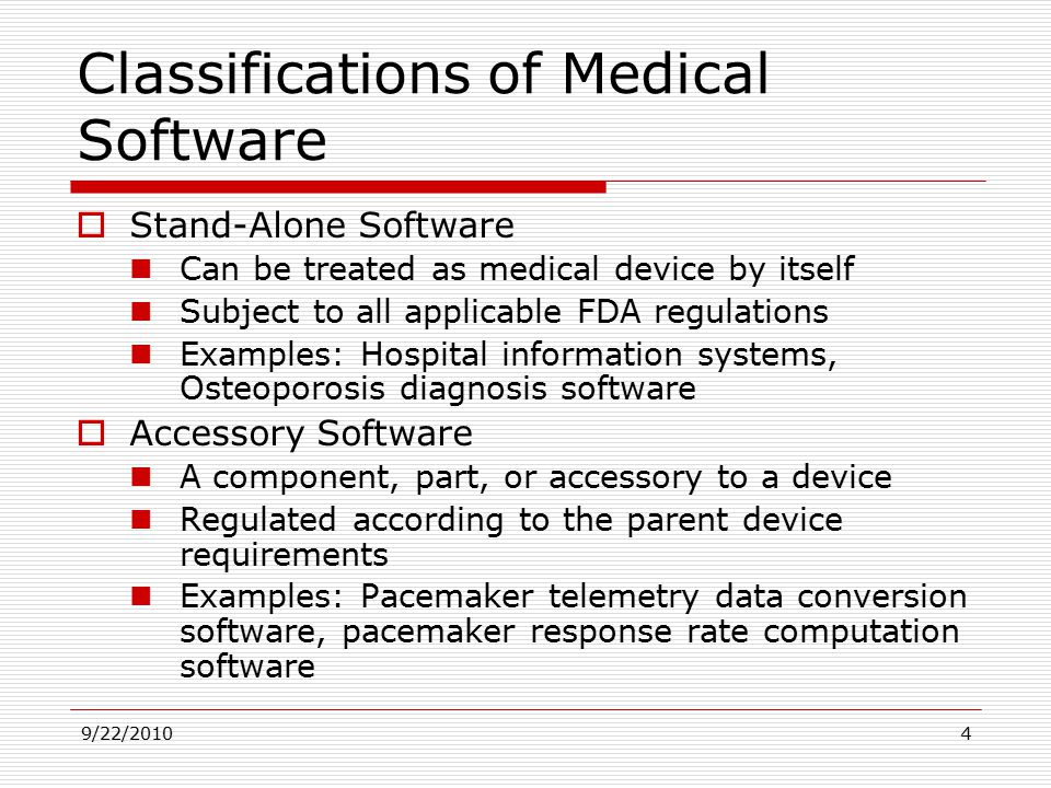 Classifications Of Medical Software
