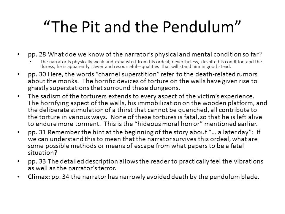 The Pit And The Pendulum  Ppt Video Online Download  The