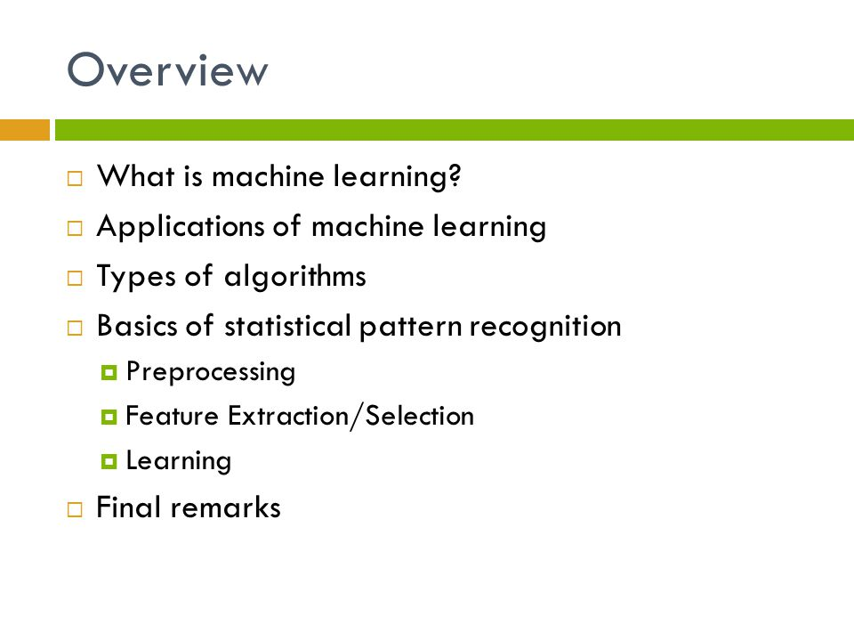 Introduction to machine learning - ppt video online download