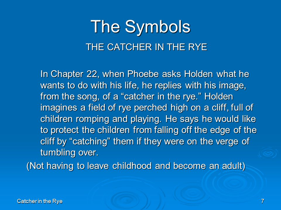 catcher and the rye diagnoses - the catcher in the rye - jd salinger as holden caulfield the catcher in the rye, by jd salinger, is home to the protagonist holden caulfield there is no coincidence that he holds a striking resemblance to the author of the novel himself.