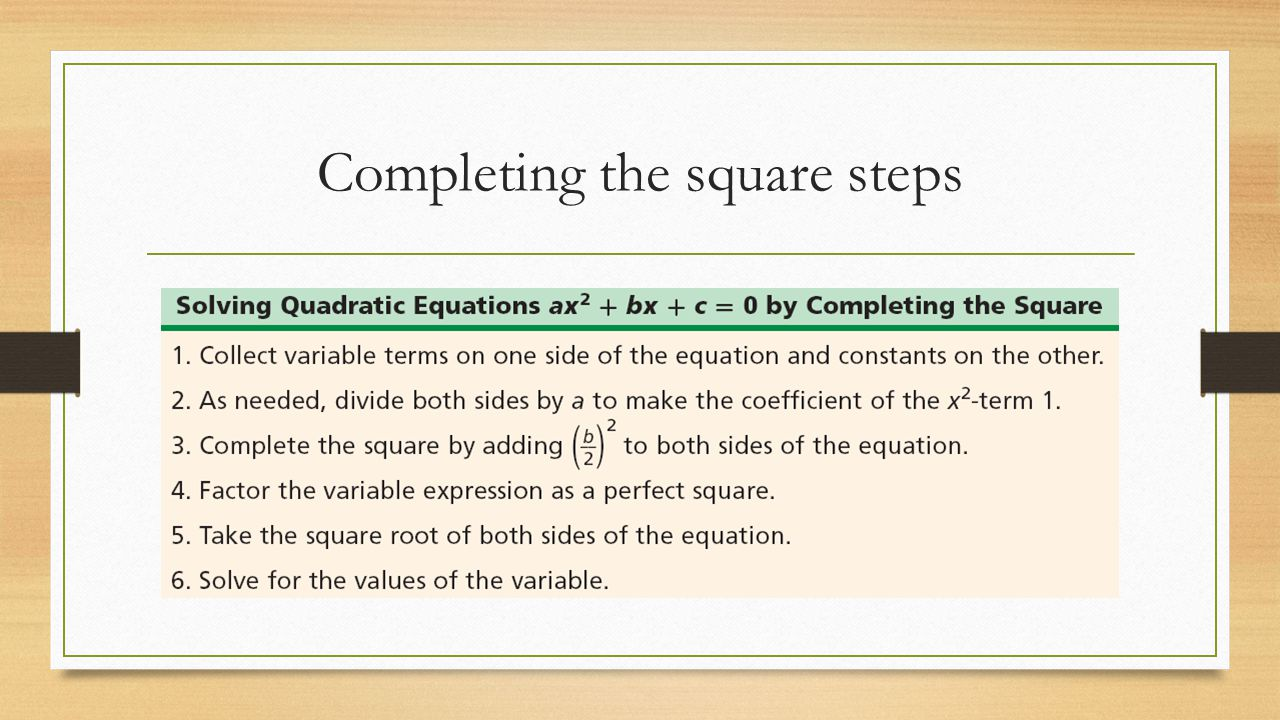 Completing the square steps