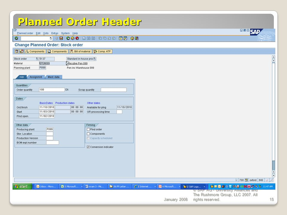 Planned Order Header ECC 6.0 January 2008
