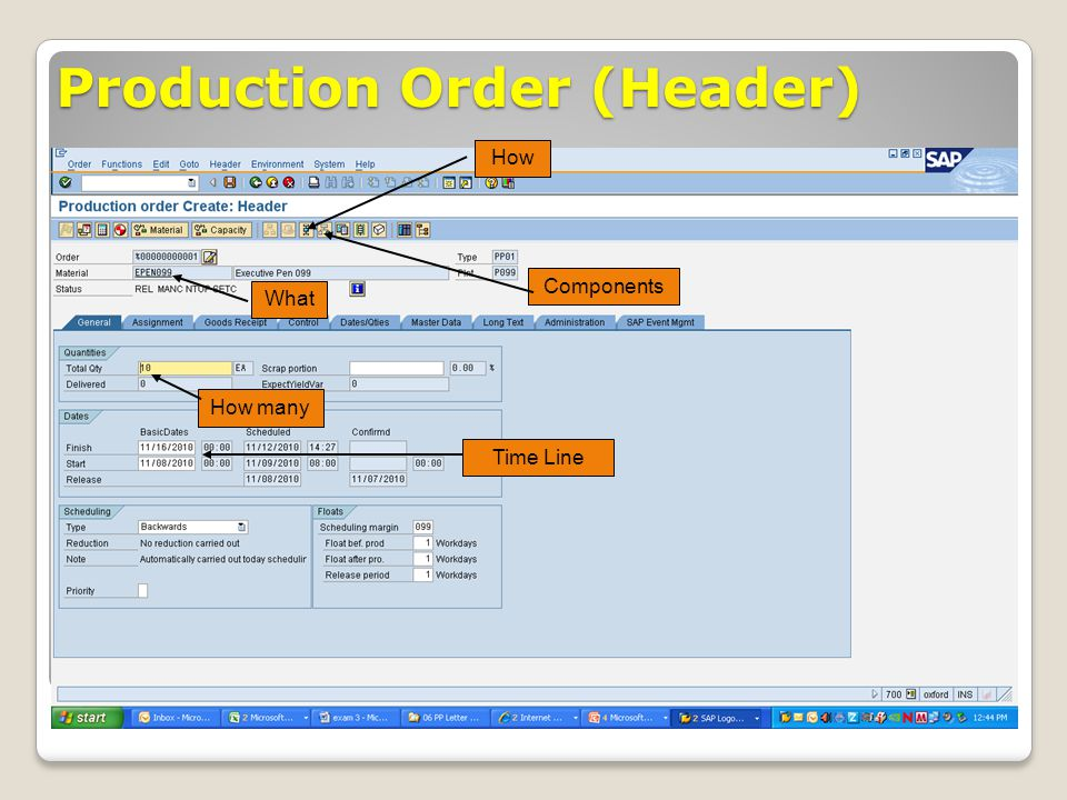 Production Order (Header)