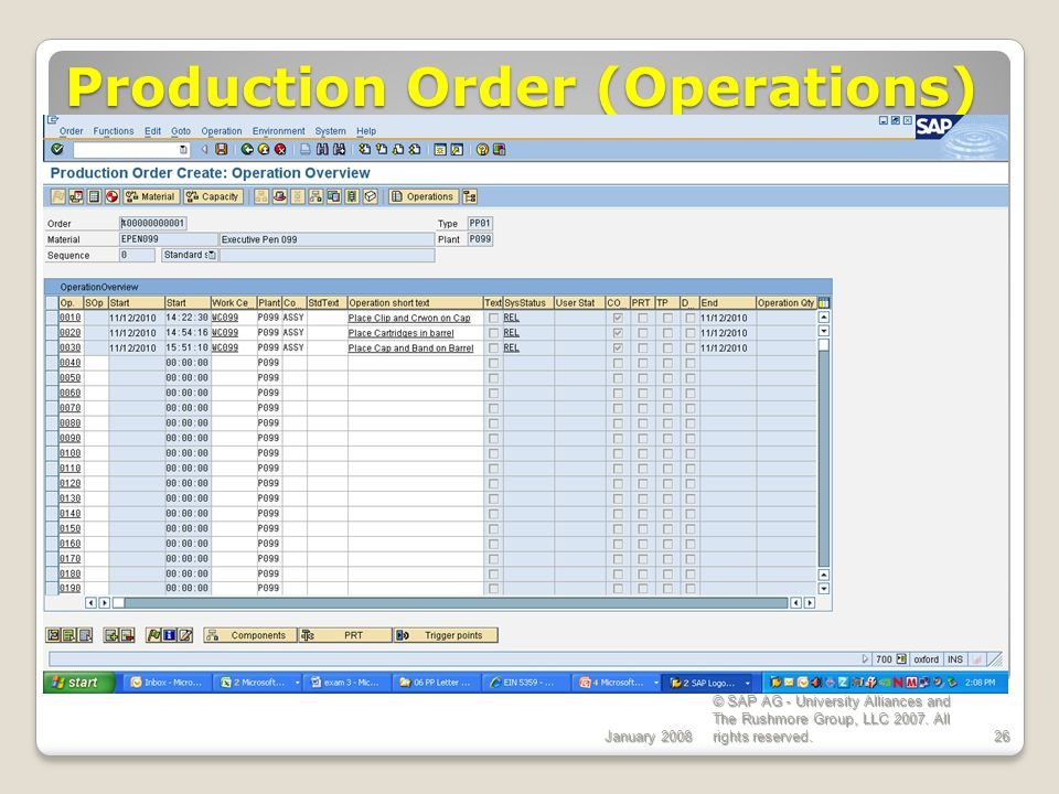 Production Order (Operations)