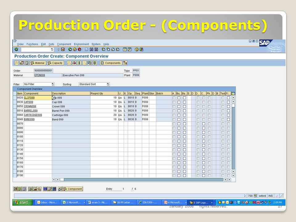 Production Order - (Components)