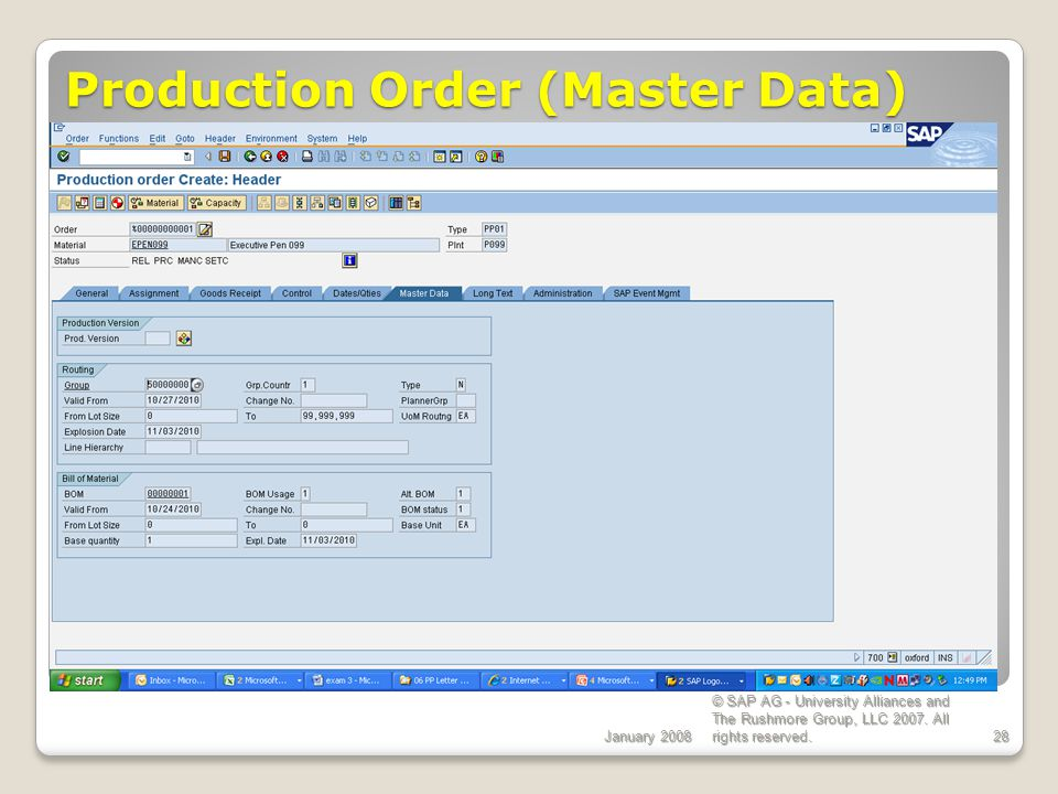 Production Order (Master Data)