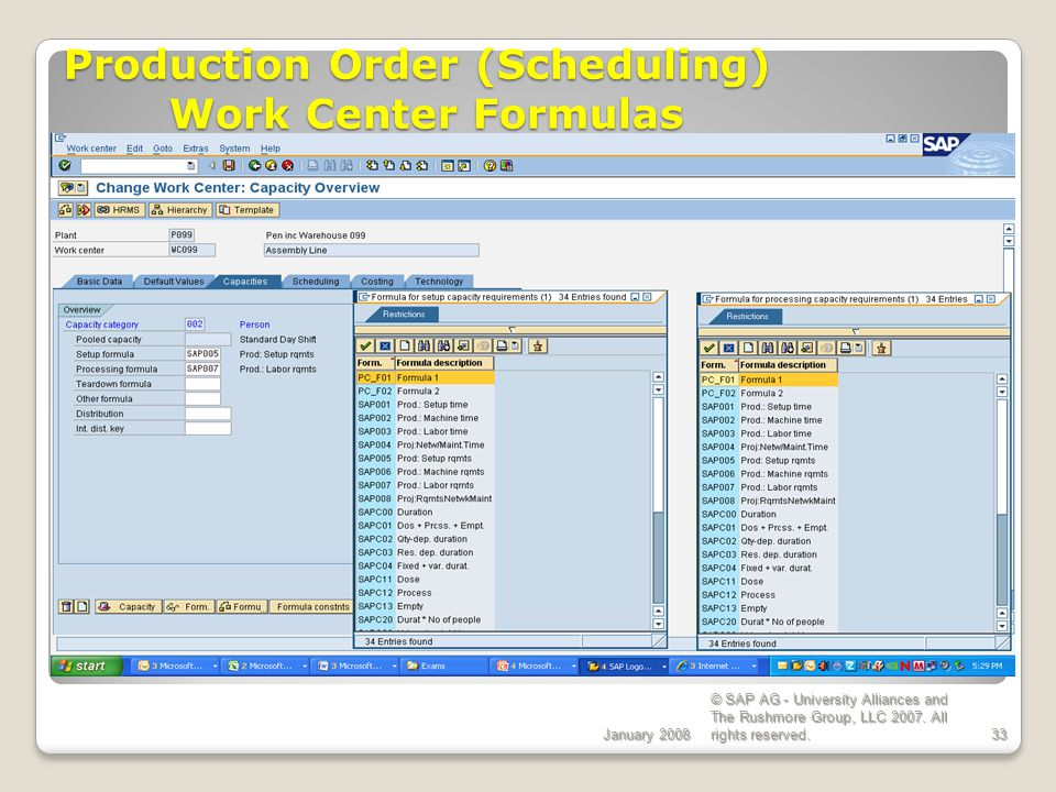 Production Order (Scheduling) Work Center Formulas