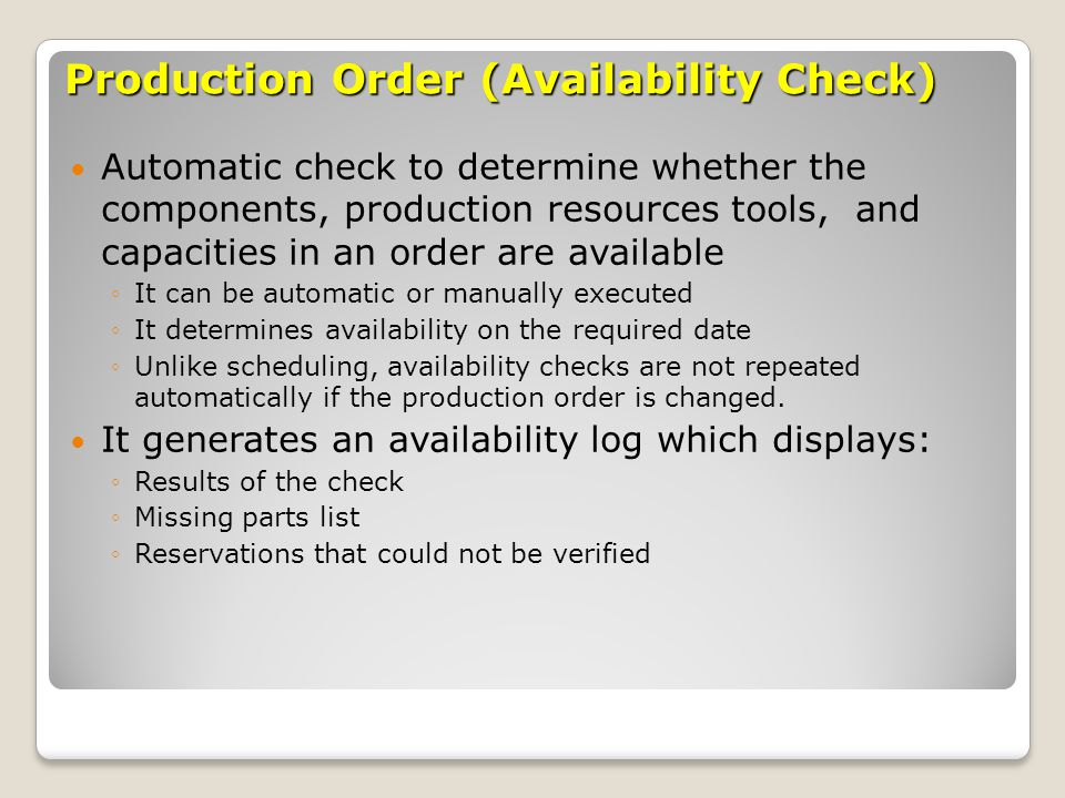 Production Order (Availability Check)