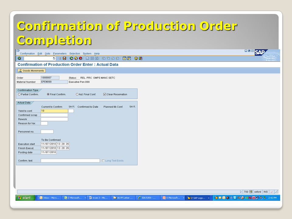 Confirmation of Production Order Completion