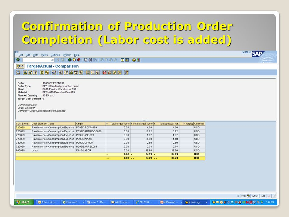 Confirmation of Production Order Completion (Labor cost is added)