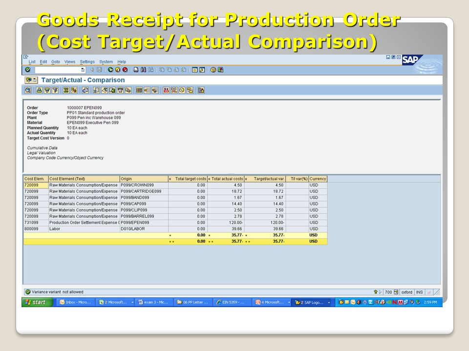 Goods Receipt for Production Order (Cost Target/Actual Comparison)