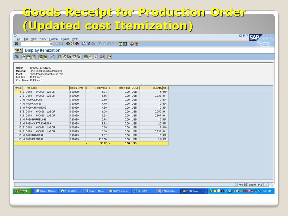Goods Receipt for Production Order (Updated cost Itemization)