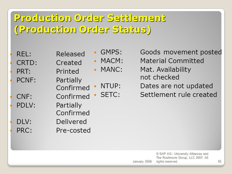 Production Order Settlement (Production Order Status)