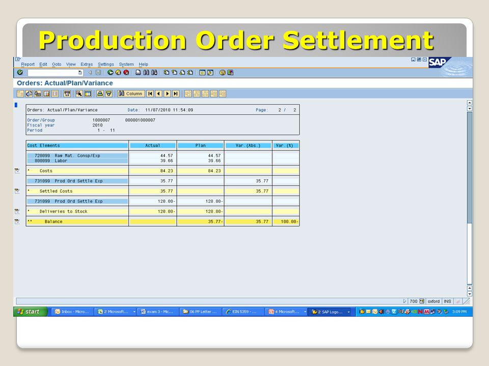 Production Order Settlement