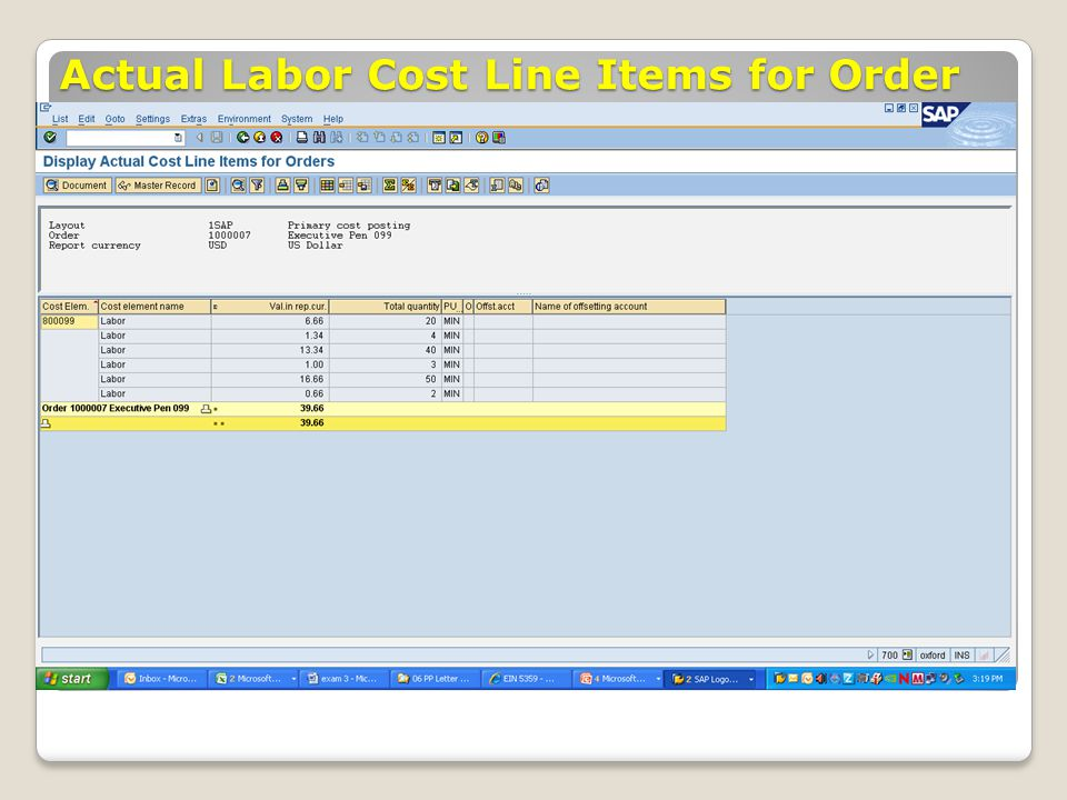 Actual Labor Cost Line Items for Order