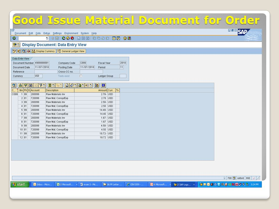 Good Issue Material Document for Order