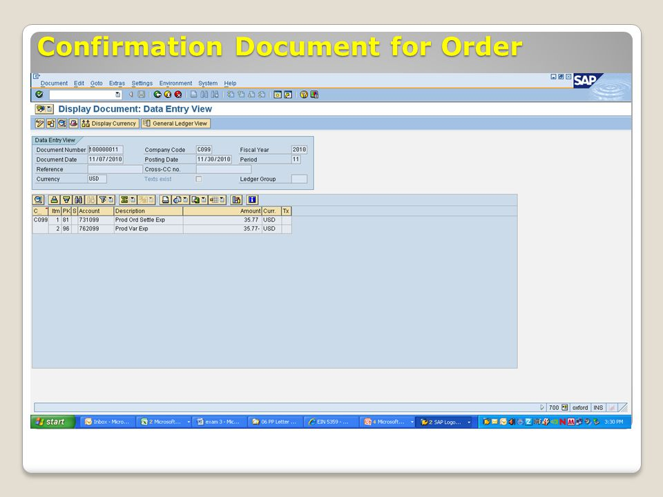 Confirmation Document for Order