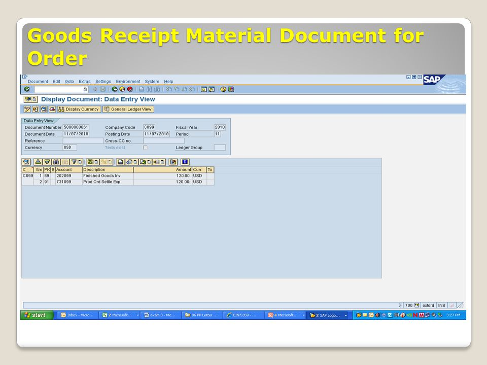 Goods Receipt Material Document for Order