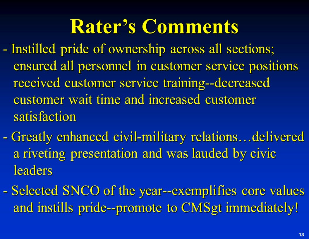Rater's Comments