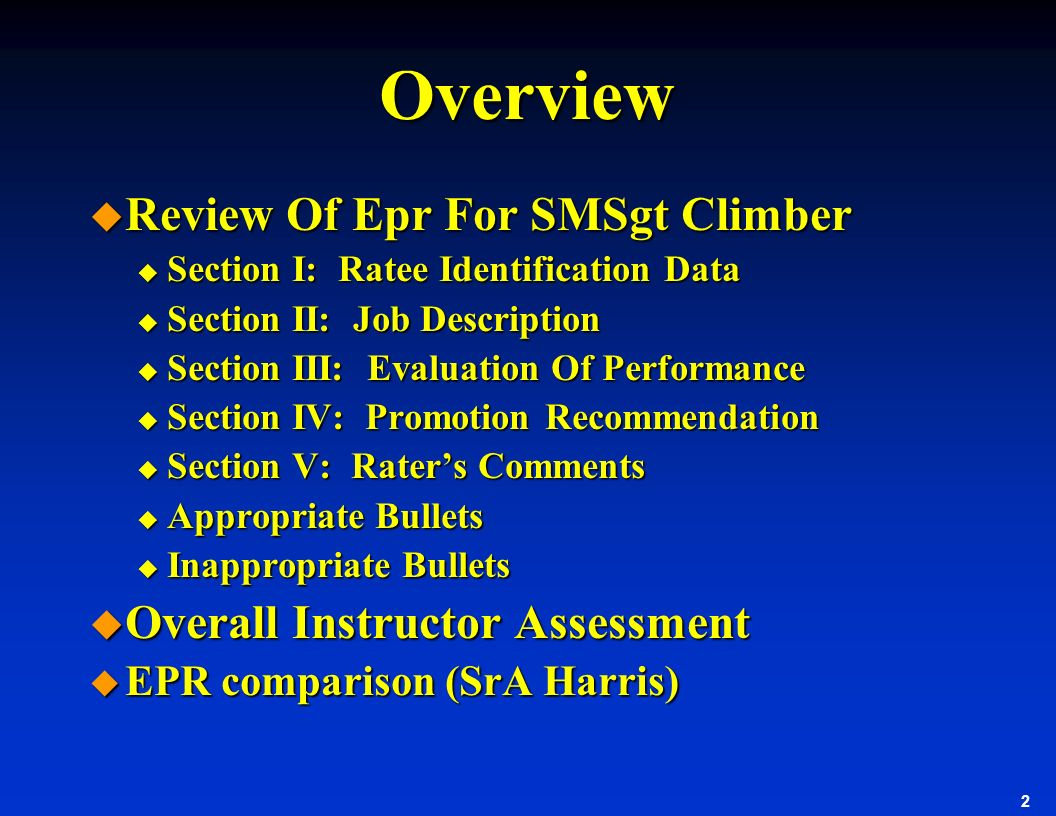 Overview Review Of Epr For SMSgt Climber Overall Instructor Assessment