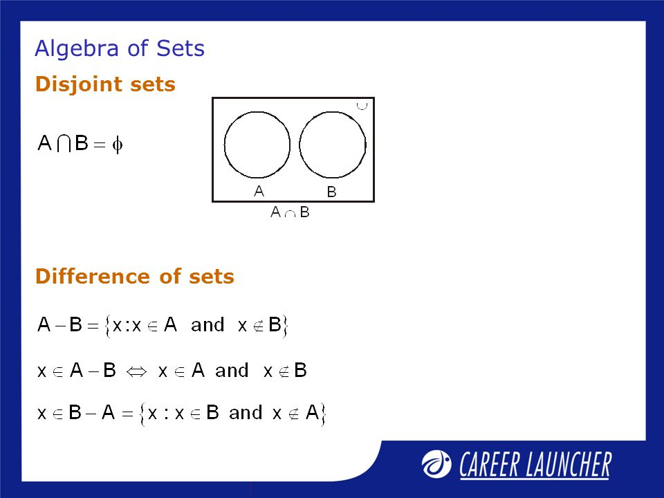 Algebra of Sets Disjoint sets Difference of sets