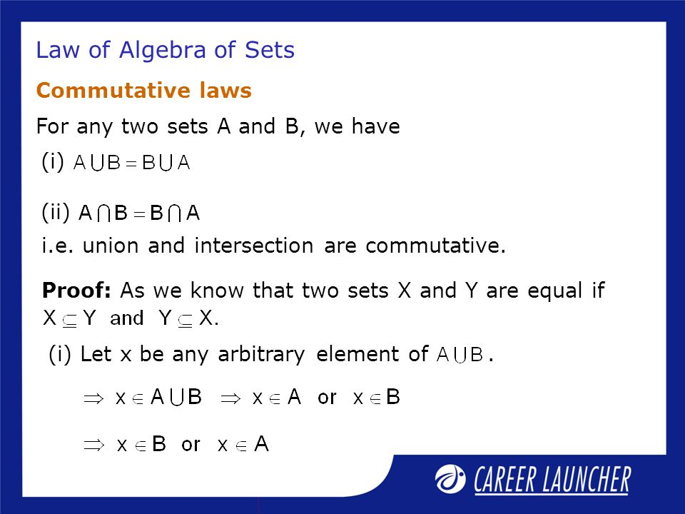 Law of Algebra of Sets Commutative laws