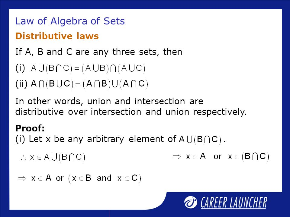 Law of Algebra of Sets Distributive laws