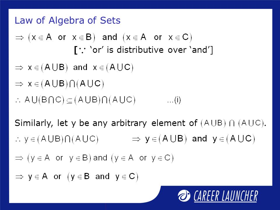 Law of Algebra of Sets [ 'or' is distributive over 'and']
