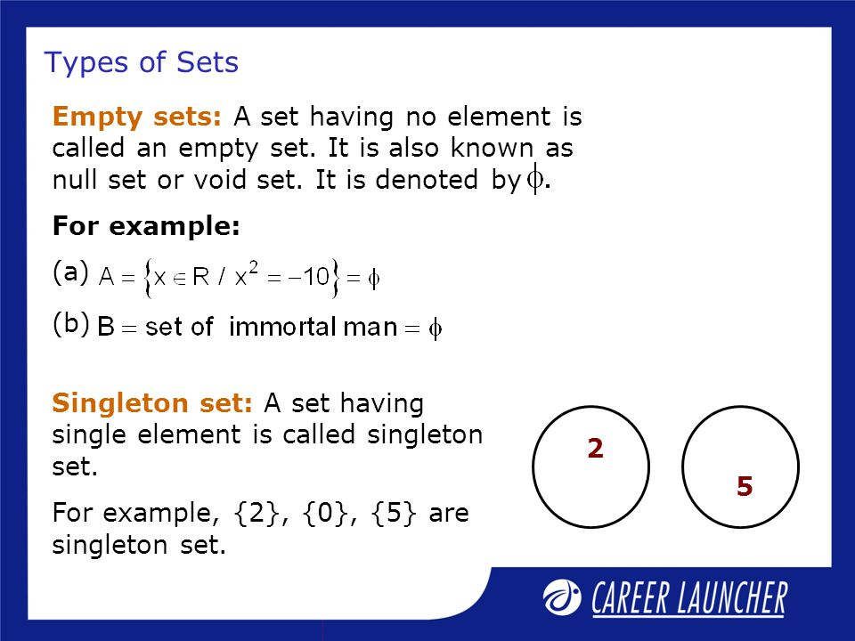 Types of Sets Empty sets: A set having no element is called an empty set. It is also known as null set or void set. It is denoted by.